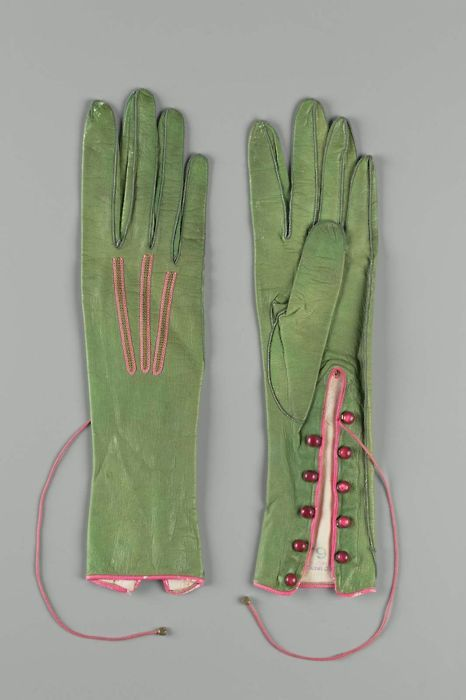 green and pink gloves with seed buttons- ca. late 1800s: