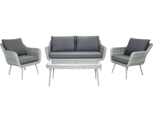 Loungeset Victoria Polyrattan 4 Sitzer 4 Teilig Anthrazit In 2020 Polyrattan Lounge Und Anthrazit