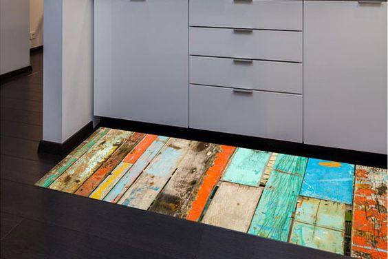 Vente floorart 18639 cuisine et salle de bain imitation parquet tapis - Salle de bain imitation parquet ...