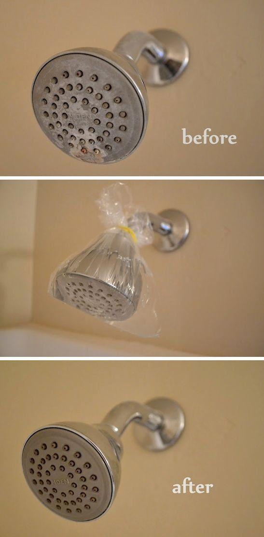 Como limpar o chuveiro - use um pouco de vinagre branco em um saco plástico, no qual você vai envolver o chuveiro por cerca de uma hora. Depois é só usar um pano molhado para limpar sua superfície e pronto!