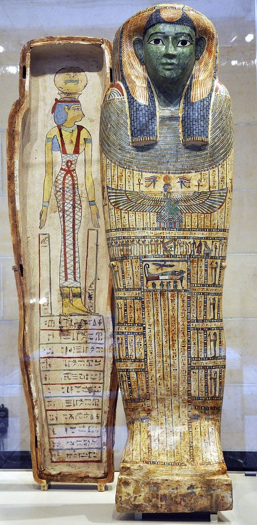 Coffin of Ta-mit, said to be from Luxor. Her name which means she-cat or Cat Lady is preserved on the coffin lid.