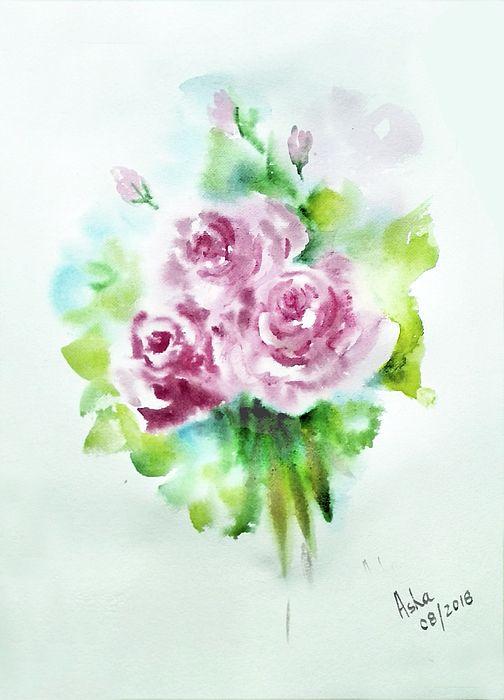 Pale Pink Roses Watercolor Rose Watercolor Paintings Pink