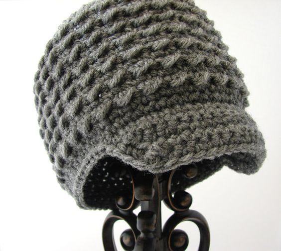 Little Boys Hats, Crochet Gray Newsboy Hat, Infant Boy eBeanie, Soft-Brimmed Visor, MADE TO ORDER, Children Clothing