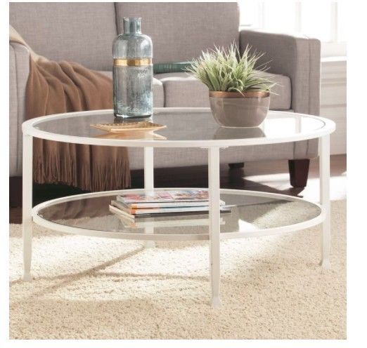 Details About Modern White Coffee Table Glass Storage Shelves