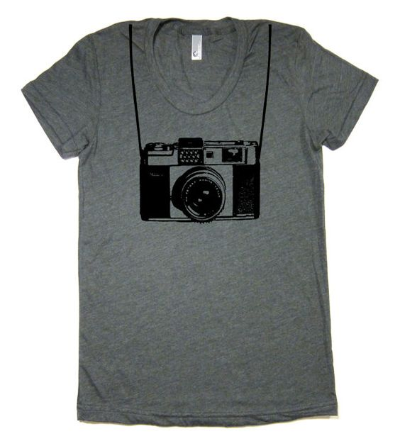 Women's Vintage Camera T Shirt HEATHER FOREST  by lastearth, $18.00