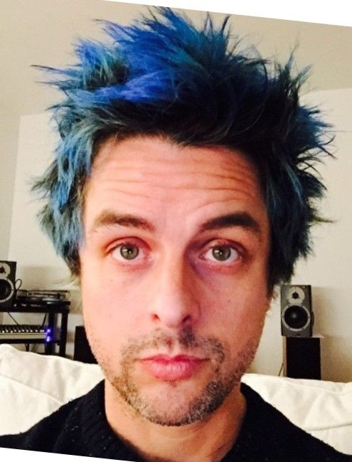 Billie Joe Armstrong With Blue Hair Omg Billie