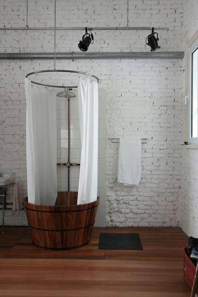 Old wooden tub standing shower - for a tiny bathroom: