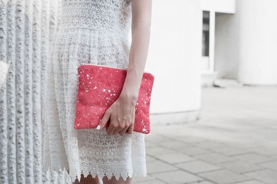 Coral Red Splatter Leather-Suede Pouch