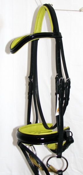FSS Patent Gloss Comfort Curve Kiwi Lime Green Padded German Dressage Bridle New | eBay