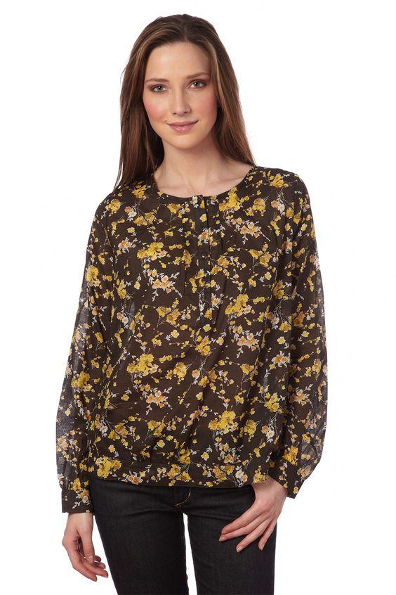 Venda Somewhere / 8296 / Mulher / Camisas e Blusas / Blusa Castanho e Amarelo. De 40€ por 8€.