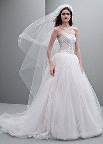White by Vera Wang Tulle Ball Gown with Jeweled Lattice Bodice, Style VW351236 #davidsbridal #blacktiewedding #weddingdress