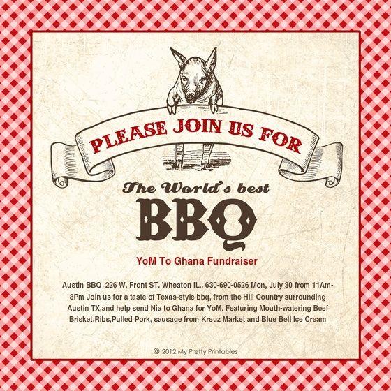 Bbq Fundraiser Flyer Templates Free Fundraiser Flyer Pig Roast Invitation Bbq Party Invitations