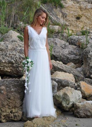 Bohème - Robe de mariée champêtre décolleté