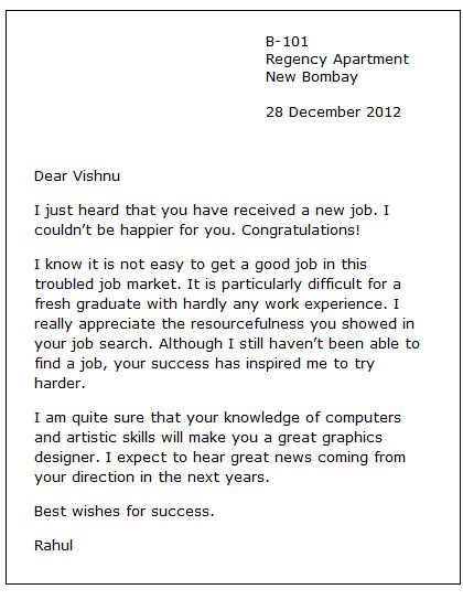 New Job Congratulation Letter