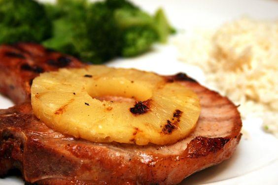 Grilled Pineapple Pork Chops   gluten free recipes   Pinterest ...
