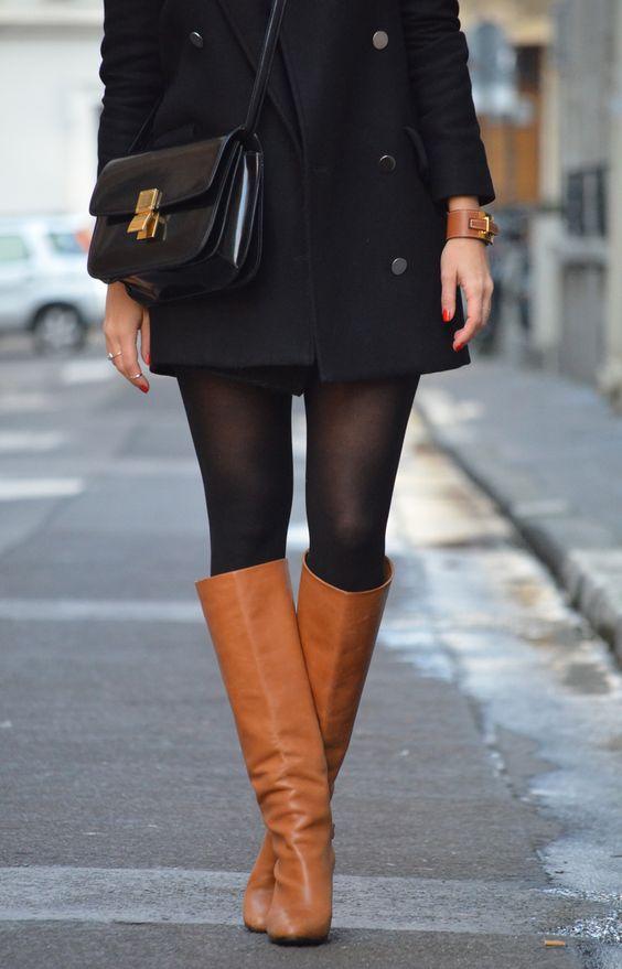 Manteau Mango – pull Gap – jupe Zara – bottes Tara Jarmon – bracelet Hermès – sac Céline