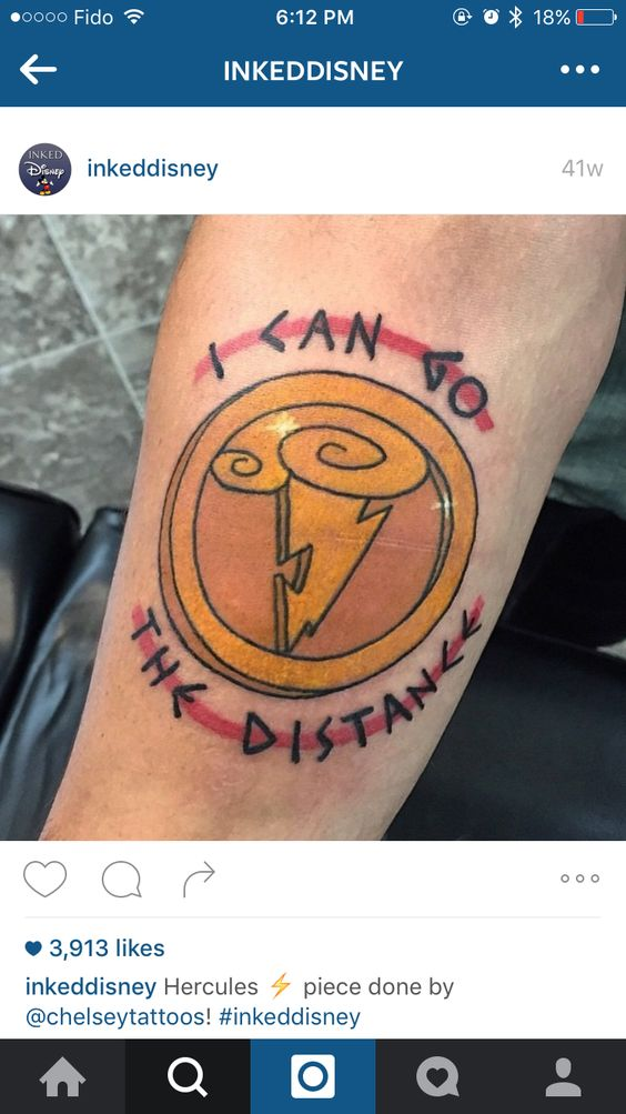 Hercules tattoo. The first I've found on Pinterest to get the lightning bolt right lol... would be cool to have the symbol on my hip or shoulder blade