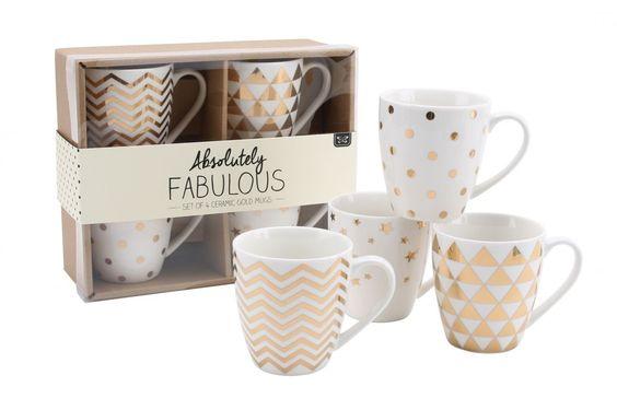 Absolutely Fabulous Set mit 4goldfarben, gemusterten Keramik-Tassen, Punkte, Sterne, Zickzack und Dreiecke in Geschenkbox: Amazon.de: Küche & Haushalt