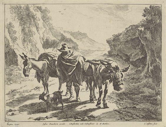Jan de Visscher | Herder met twee ezels en een hond, Jan de Visscher, Justus Danckerts, 1650 - 1701 |