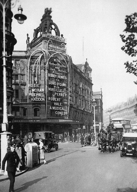 """London Hippodrome, 1930 The Hippodrome, on the corner of Leicester Square and Charing Cross Road, is one of London's most famous landmarks. This picture, part of the Museum of London's collection, was taken in 1930 when """"Sons O'Guns"""" opened. The musical ran for 211 performances."""