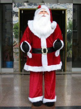 Huge 6 Foot Life-Size Decorative Plush Santa Claus - Sitting or Standing: Home & Kitchen