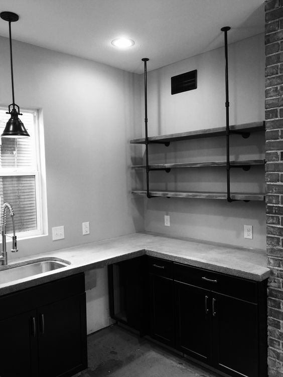 Black Concrete Counter And Pantry On Pinterest