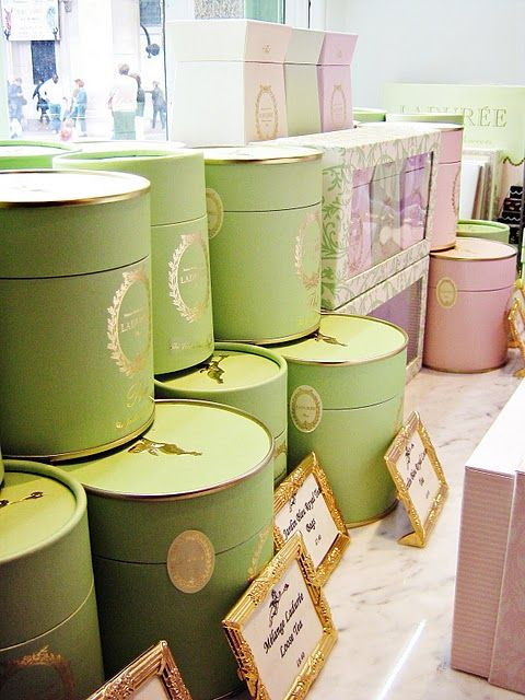 Laduree boxes packed goodies! Great pastel colors fit for a chic or luxury bridal shower. #Celebstylewed