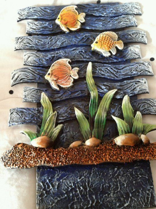 Murals clay and polymers on pinterest for Ceramic mural designs