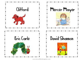 Love these library labels froms Mrs. Wills Kindergarten's Blog!