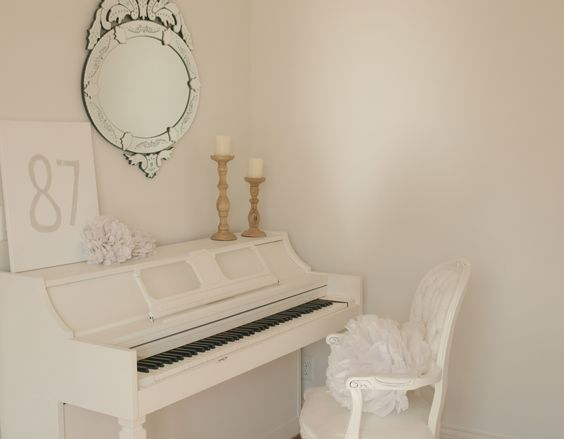 Romantic feminine shabby chic white painted piano with Louis chair/Venetian mirror/rustic wood candlesticks/vintage piano painted white/Hello Lovely Studio