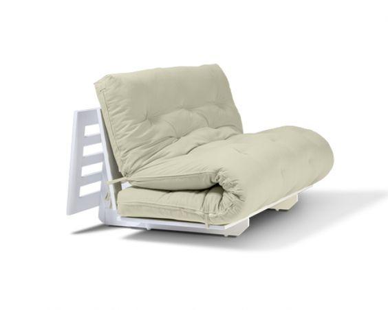 Sofá-cama Liberdade Branco com Futon Off-White