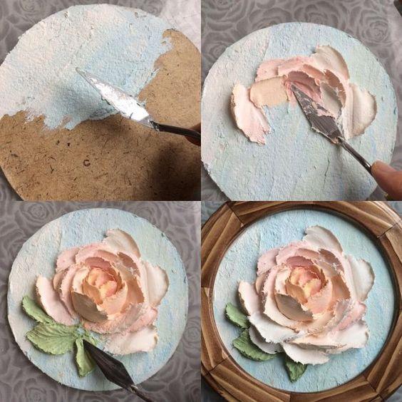 Aprende Cómo Hacer Hermosas Manualidades Con Pasta De Relieve Casero Pinturas Con Texturas Artesanías De Yeso Pintura Con Relieve