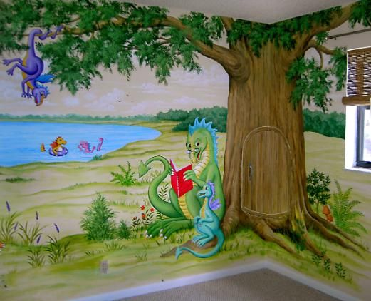 Awesome reading dragon with the tree japa mural for Children s room mural