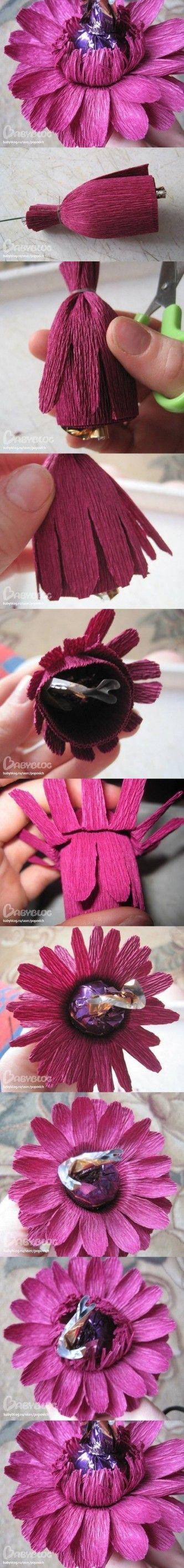 DIY Papel Crepe Ramo de Rosas y Chocolates DIY Proyectos