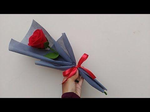 Wrapping Single Felt Rose Easy Cara Membungkus 1 Tangkai Mawar