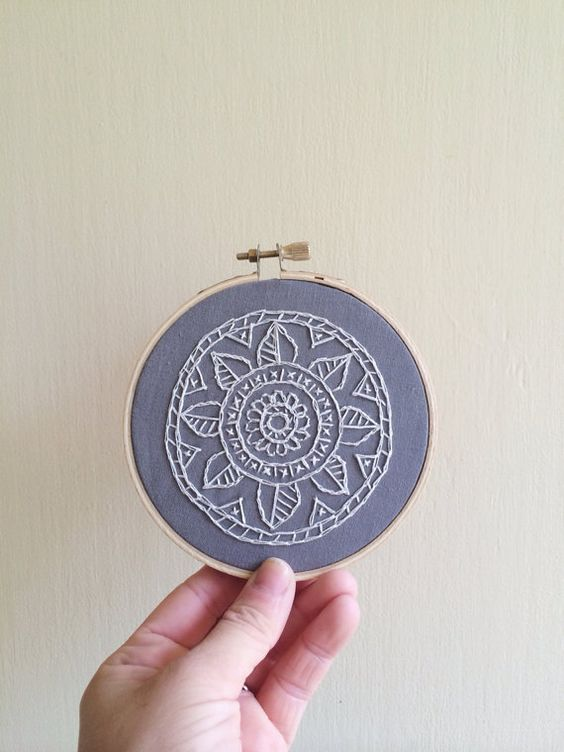 White lace mandala embroidery hoop art mandalas