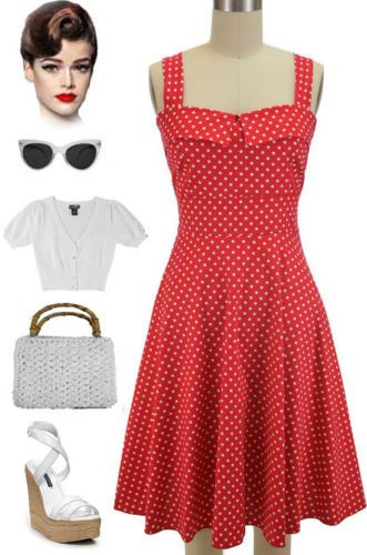 50s Style Red with White Polka Dot Fold Over Bust Peggy Sue Sun Dress | eBay