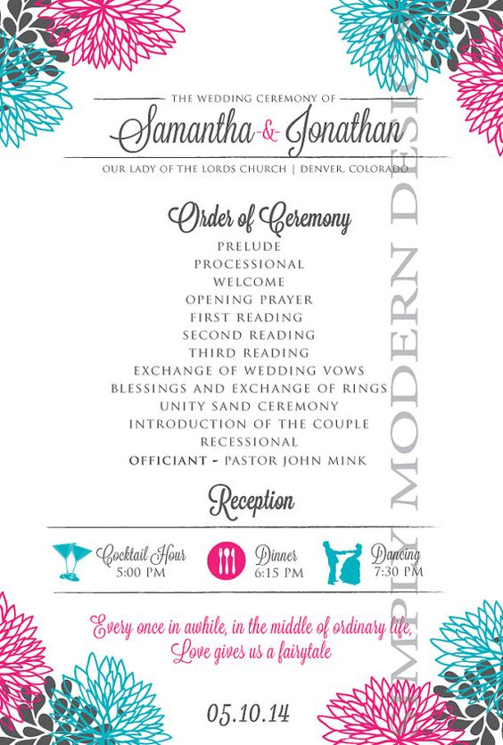 modern double sided wedding program by xSimplyModernDesignx-just like the layout and wording and will change the design