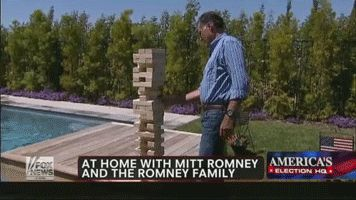 Mitt Romney, Jenga, awkwardness...I can't get enough of this.