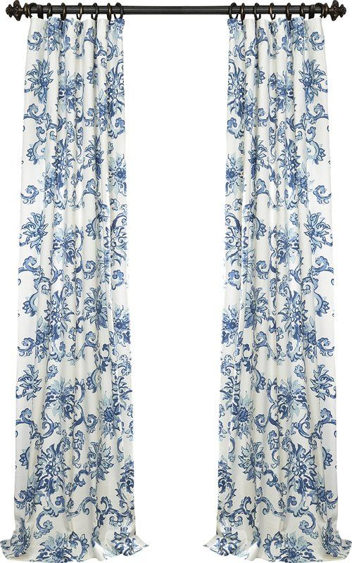 Althoff Nature Floral Printed Cotton Twill Rod Pocket Single Curtain Panel Reviews Birch Blue Curtains Living Blue And White Curtains Dining Room Curtains Blue and white curtain panels