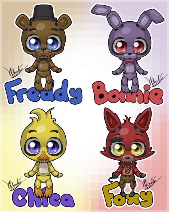 Cartoon 5 Characters : Freddy s cartoon nights at five cute freddys
