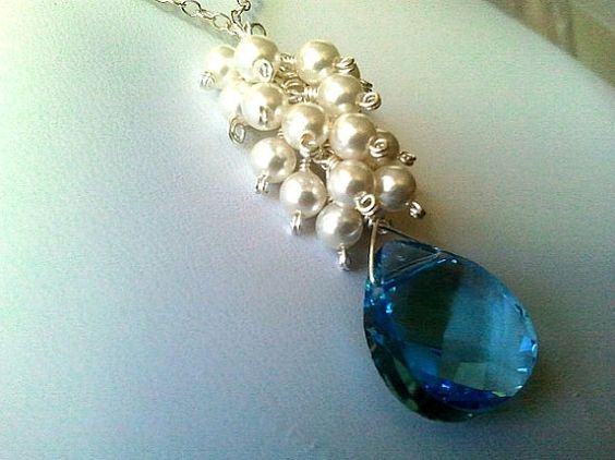 diy jewelry ideas   White Pearl With Blue Necklace Bridal Jewelry by LaLaCrystal, $30.00