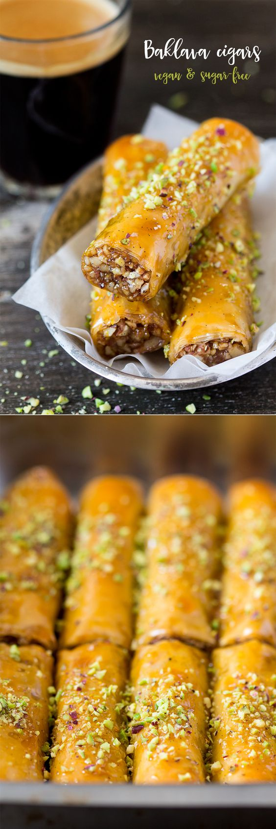 Vegan Baklava Cigars // oranges, maple syrup, vanilla pod, almonds, walnuts, lemon zest, ground cinnamon, sea salt, vegan filo pastry, vegetable oil, pistachios
