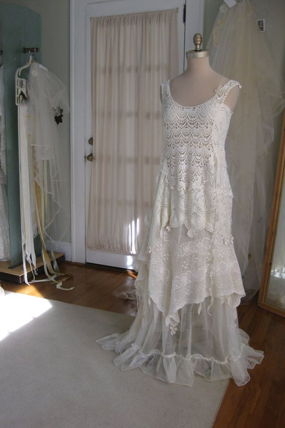 Rustic hippie fairy crochet flapper wedding dress by for Wedding dress in atlanta