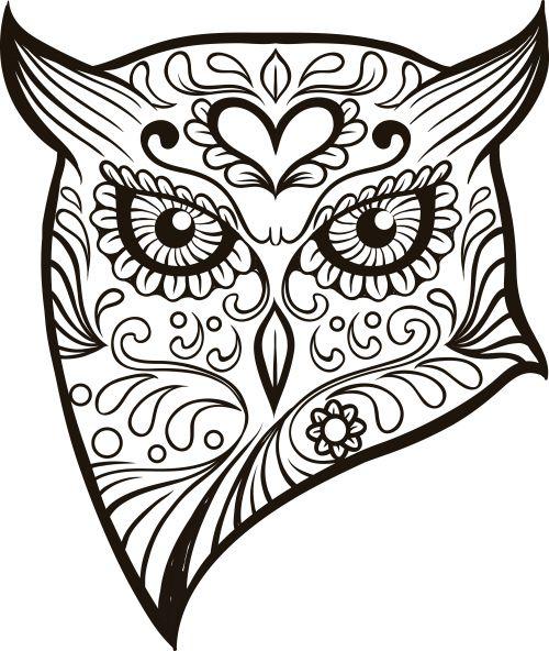 Owl Coloring Pages Sugar skull advanced coloring 7 sugar skull owl ...