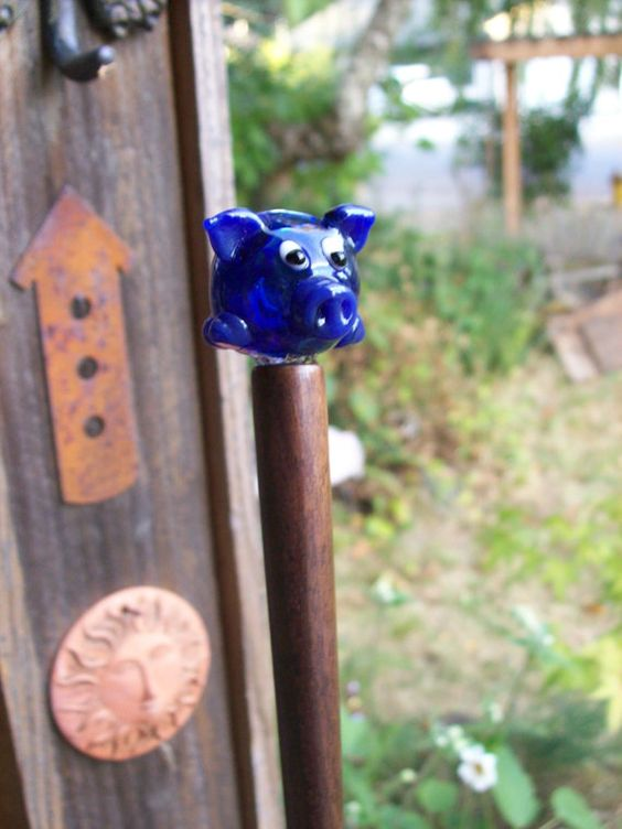 Hair Stick Blue Pig on Black Walnut. $24.00, via Etsy.