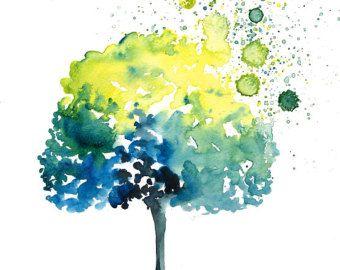 Feliz pintura-acuarela-naranja árbol paisaje impresión por Ireart