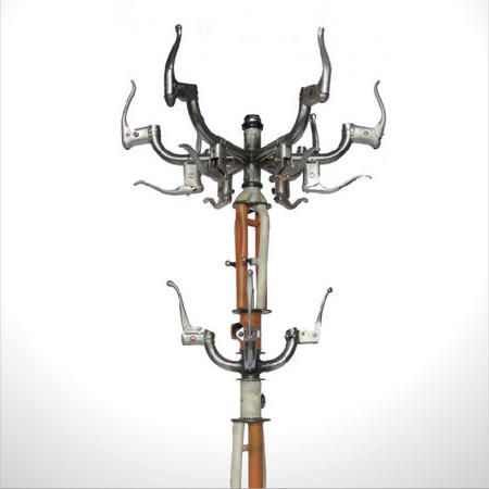Coat rack made from upcycled bicycle parts and other found objects: