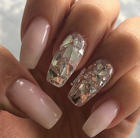 Sheer and glitter ballerina nails. Love!