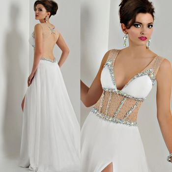 2015 White Sheer Women Backless V Neck Long Sexy Prom Dresses Chiffon Crystals Evening Gowns Vestidos de Formatura E6516
